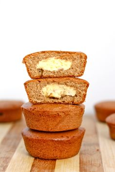 Pumpkin Cheesecake Muffins. Phase 1 friendly. Notes: use oat flour only, sugar substitute, egg whites only, fat free greek yogurt. And for filling, use 3T sugar free cheesecake pudding and sugar substitute. #stateofslim #desserts #healthy #sugarfree #paleo #clean #cleaneating #recipes