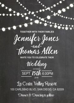 Chalkboard wedding invitation with strings of lights. Printable wedding…