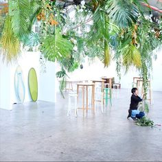 Finishing touches on this super fun hanging jungle installation for the…