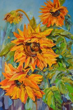 Buy Sunflowers, Oil painting by TERRA ART on Artfinder. Discover thousands of other original paintings, prints, sculptures and photography from independent artists.