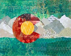 """Colorado Flag - """"I Love Colorado"""" - Colorado Flag Art Mixed Media Paper Collage by Brenda Bennett - Gallery Wrapped Canvas Print by BrendaBennettArt on Etsy Grandma Crafts, Flag Art, Thing 1, Traditional Paintings, Mixed Media Art, Wrapped Canvas, Original Paintings, Collage, Canvas Prints"""
