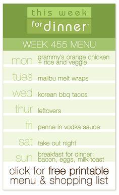 week 455 weekly menu from @janemaynard including FREE printable PDF meal plan and shopping list!