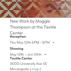 Art opening Thur May 12 @textilecenter http://www.textilecentermn.org/category/exhibitions/joan-mondale-gallery/
