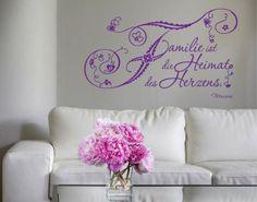 Wandtattoo Familie #Heimat #Zuhause #Herz #Blumen