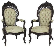 c1850 Rococo open arm chairs, laminated rosewood, 44, 15-5,4.