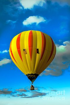Yellow Stripped Hot Air Balloon: See more images at http://robert-bales.artistwebsites.com/
