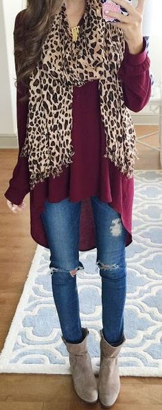 Leo Chunky Scarf Burgundy Loose And Long Tunic Outfit Idea by Southern Curls and pearls
