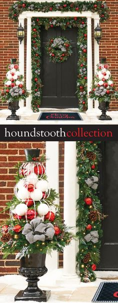"Add a touch of elegance to your holiday season with the Pre-Lit Houndstooth Christmas Collection. It features a popular white-and-black houndstooth pattern and combines lifelike greenery with red shatterproof ornaments, faux red berries and ice picks, and real pine cones. The collection includes 24"" Wreath, 9' Garland, and 26"" Urn Filler. Display indoors or on a covered porch. Christmas Urn Fillers, Diy Christmas Urns, Outdoor Christmas Decorations, White Christmas, Vintage Christmas, Christmas Holidays, Christmas Ideas, Holiday Crafts, Holiday Decor"
