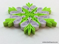 Snowflakes Neon Green White Christmas Tree Decor Winter Ornaments Gift Toppers Fillers Office Corporate Paper Quilling Quilled Handmade Art