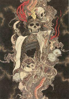 Watercolour skull paintings by Takato Yamamoto. Art And Illustration, Japanese Drawing, Japanese Painting, Arte Horror, Horror Art, Yamamoto, Samourai Tattoo, Art Kawaii, Art Noir