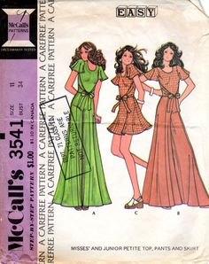 1970s Wrap Top Flared Skirt & Palazzo Pants - Vintage Pattern McCall's 3541 - Bust 34 Cape Sleeves by ErikawithaK on Etsy