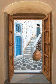 Door to Sunlight by Stella Petropoulou - Greek Artist Online Gallery, Doorway, Santorini, Sunlight, Greek, Stairs, Artist, Shopping, Home Decor