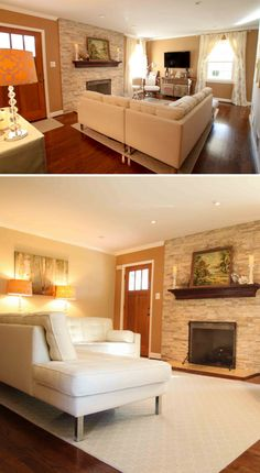 DIY living room makeover with stacked stone fireplace and burlap grasscloth wallpaper from www.heatherednest.com