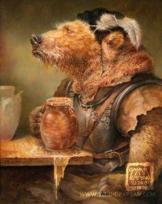 Beer in Stein Bear print beer mead bar art gift for Bar Kunst, Omar Rayyan, Cute Bear, Big Bear, Fantasy Character, Character Creation, Les Fables, Bar Art, Bear Print