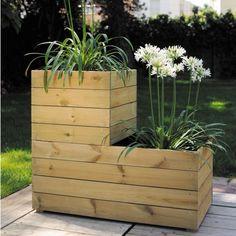 Bac à fleurs bois traité L80 H39,5 cm Essencia - Plantes et Jardins