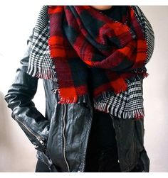 Double Sided Plaid Scarf | Tartan Scarf | Flannel Scarf | Check Scarf