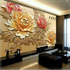 Wallpaper Bedroom Roll Modern Luxury Embossed Mural peony flower Background -… – Best of Wallpapers for Andriod and ios 3d Wall Art, Mural Art, Wall Murals, Plaster Art, Plaster Walls, Wall Art Designs, Wall Design, Flowers Background, Luxury Home Decor