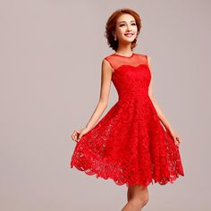 Sleeveless Chinese red lace silk short bridal wedding dress 001
