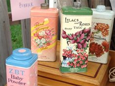 I love the happy colors of these vintage tins...