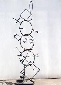 Large metal linear sculpture.
