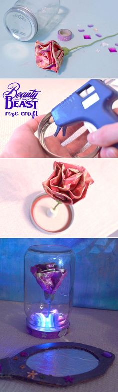 Beauty & The Beast Enchanted Rose craft for kids. Make this magic rose using a mason jar and paper rose. Fun mason jar craft and Disney princess inspired kids craft. Princess party idea, Belle magic rose, craft ideas for girls, magic rose DIY. #disneyprincess #kidscrafts #princess
