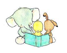 Arte infantil--una lectura Jolly - impresión del arte