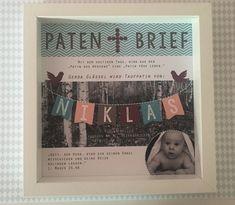 Personalisierter Patenbrief mit Rahmen  Individuelles Geschenk für den Taufpaten oder die Taufpatin: Hauptfarbe Türkis. Ihr könnt zwischen den beiden Hintergründen auswählen: Birkenwald oder...
