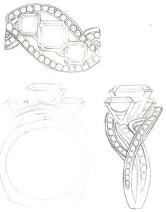 Mark Schneider Design - Custom Bedazzle engagement ring to hold 3 asscher cut diamonds High Jewelry, Jewelry Art, Fashion Jewelry, Ring Sketch, Sketch Drawing, Jewelry Design Drawing, Jewellery Sketches, Jewelry Sketch, Jewelry Illustration