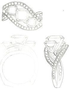 Mark Schneider Design - Custom Bedazzle engagement ring to hold 3 asscher cut…