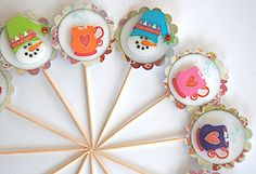 snowy Snowman Cupcake Toppers