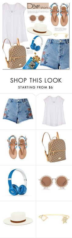 """The Final Cut: Denim Shorts"" by mada-malureanu ❤ liked on Polyvore featuring Miss Selfridge, Lauren Ralph Lauren, Beats by Dr. Dre, House of Holland, Janessa Leone, jeanshorts, denimshorts and cutoffs"