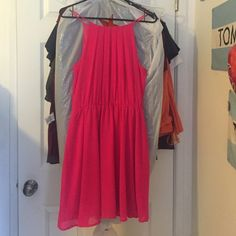 Dress Pink dress w| high neck. Stained a little on the left side hardly noticeable . (i bought it like that already) Poetry Dresses