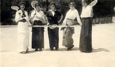 Ladies from the Brand family pose on the tennis court at El Miradero, circa 1910. Glendale Central Public Library. San Fernando Valley History Digital Library.