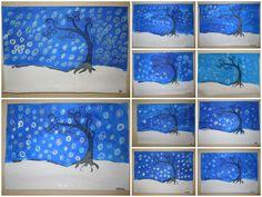 arbre à la manière de Natasha Wescoat ronds à la craie grasse + encre