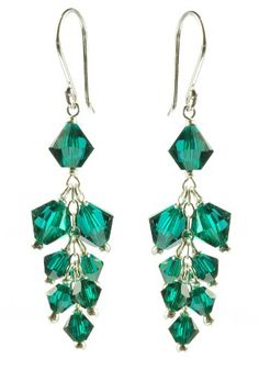 Sterling Silver Swarovski Elements Emerald Colored Bicone Cluster Drop Earrings