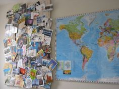 Postcrossing postcard collection with world map - I'd love to get a map to keep track og where my postcards are going to and coming from! :) I <3 Postcrossing!