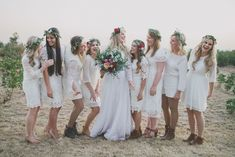These beautiful boho bridesmaid dresses will give your best girls all the Coachella festival vibes! Bohemian Wedding Flowers, Bridesmaid Dresses, Wedding Dresses, Bridesmaids, Natural Bouquet, Flower Headdress, Coachella Festival, Forest Wedding, White Lace