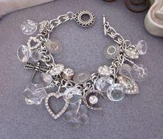 Vintage Charm Bracelet, Button Bracelet, Glass, Rhinestones, Bridal Silver Repurposed Jewelry, Heart, Horseshoe, OOAK Handmade Jewelry. $79.00, via Etsy.