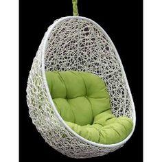 Belina - All Season White Wicker Porch Swing Chair - Great Hammocks