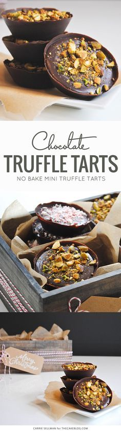 No Bake Chocolate Truffle Tarts    perfect for holiday gift giving    by Carrie Sellman for TheCakeBlog.com