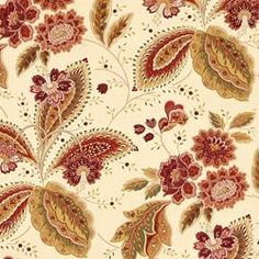 (Fabric for dining room curtains?) We're so in love with our MARAS - SPICE fabric. Image: CalicoCorners.com