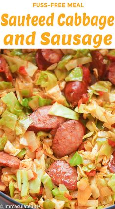 Sauteed Cabbage and Sausage Sauteed Cabbage and Sausage - a fuss-free family weeknight meal that is super quick and easy to prepare and budget friendly. Guaranteed to satisfy your soul and pocket! - Sauteed Cabbage and Sausage Fried Cabbage With Sausage, Fried Cabbage Recipes, Kielbasa And Cabbage, Cabbage Steaks, Sauteed Cabbage, Cabbage Rolls Recipe, Pork Recipes, Cooking Recipes, Healthy Recipes