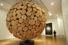Giant Wooden Spheres Made from Interlocking Wood by lee jae-hyo sculpture
