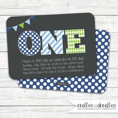 First Birthday Boy Invitation,  ONE Birthday Invitation, Gray, Blue and Green, Polka Dots, Stripes, Argyle, Printable File or Printed