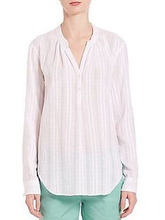 Vince Long sleeve Popover Blouse - Optic White - Size