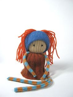 Rag doll Eco friendly toy Rust and blue OOAK Felted wool Upcycled sweaters Soft scrap dolly