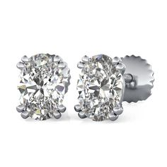 Double Prong Stud Earrings with Oval Cut Diamonds by 90210Jewelry.com ❤