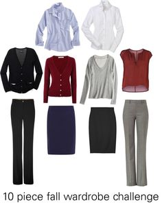 """10 piece fall wardrobe challenge - business casual"" by katie410 ❤ liked on Polyvore"