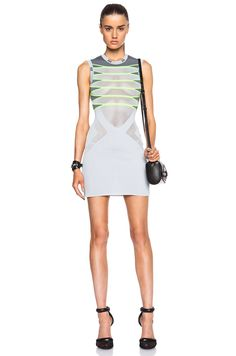 Alexander Wang Engineered Mesh Tank Dress in Thunderbolt