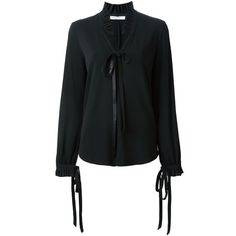 Givenchy Ruffle Collar Blouse (€1.350) ❤ liked on Polyvore featuring tops, blouses, black, slit back top, ruffle top, tie-neck blouses, long sleeve blouse and givenchy